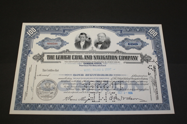 The Lehigh Coal and Navigation Company Common Stock Certificate 1956