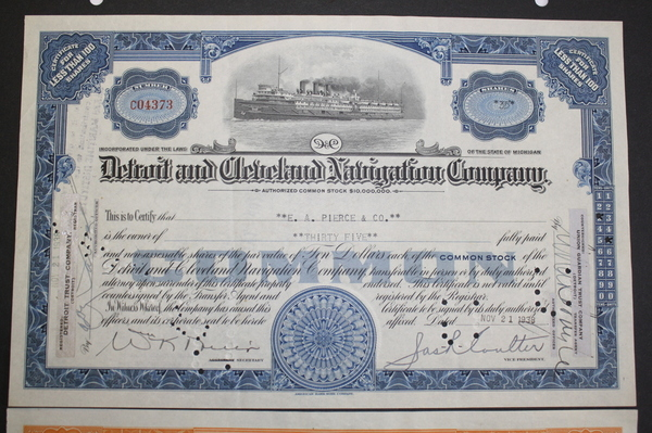 Detroit and Cleveland Navigation Co. Common Stock Certificates 1938, 1925