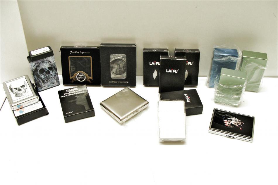 Cigarette Case Bundle Qty 14 Pocket Fliptop Hinged Marines Skull Legend Metal