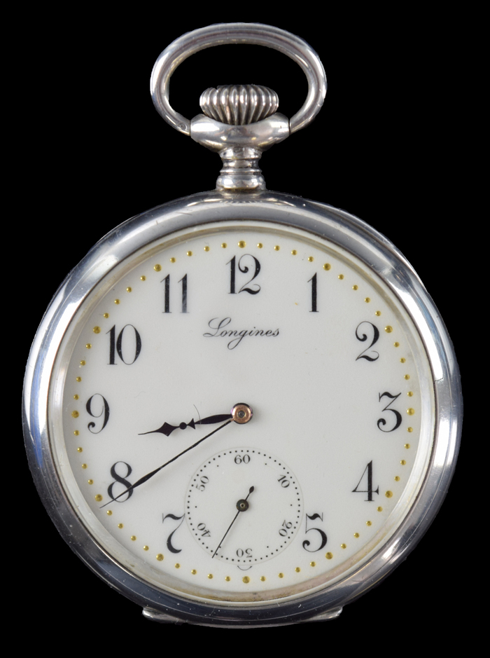 f7929620ee3 1913 Longines .800 Silver Grand Prix Pocket Watch with Chain - NO RESERVE