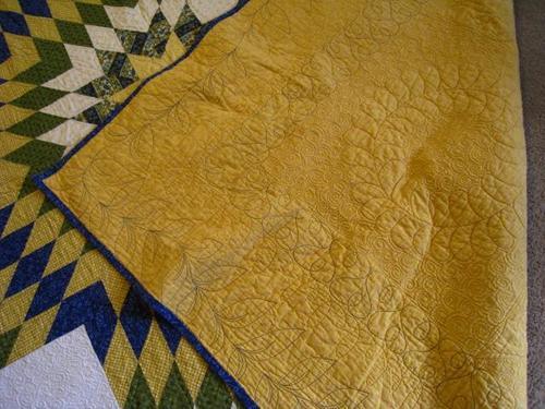 """Handmade 91x91"""" King/Queen Size Blue & Yellow Star Quilt"""