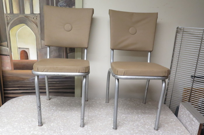 Vintage 1950s Formica U0026 Chrome Kitchen Table W/ 6 Chairs U0026 Extension  Insert