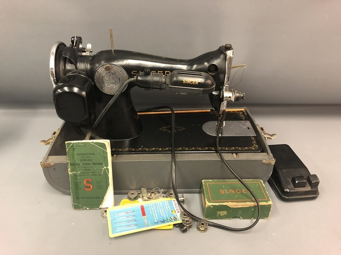 Vintage Singer Electric Sewing Machine Model 4040 G40 W Case Unique Antique Singer Sewing Machine Model 15 91