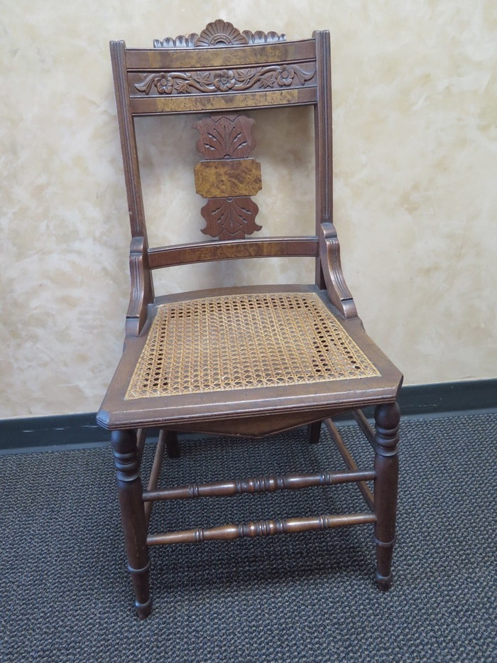 Exceptional Set Of (4) Antique Wood Cane Wicker Seat Carved Floral Urn Back Accent  Chairs