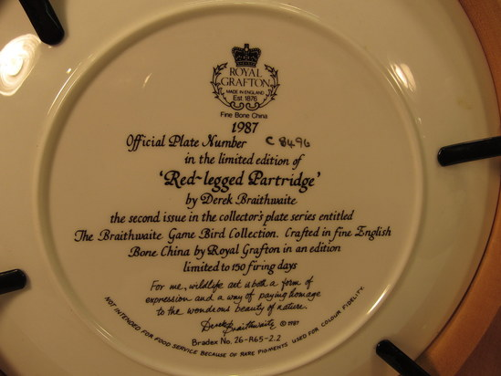 5 Limited Edition Royal Grafton Knowles plates wood frames