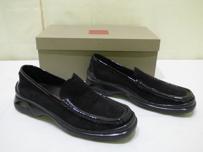 e2db050f062 Cole Haan Women s Tivoli Black Suede Patent Leather Trim Loafers Sz 6.5B In  Box
