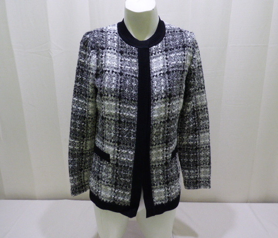 Exclusively Misook Womens Black And White Checkered Sweater Sz P Xs