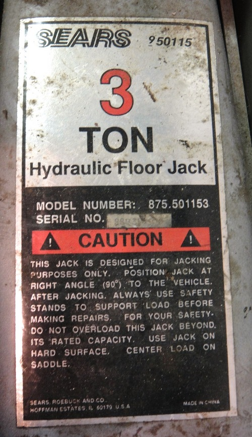Sears 3 Ton Hydraulic Floor Jack Model No 950115 Or 875 501153 Ebay