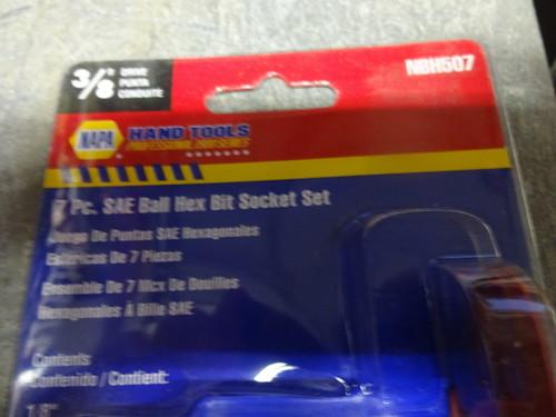 NAPA Hand Tools 3//8 Drive 7 Pc Metric Ball Hex Bit Socket Set NBH507M