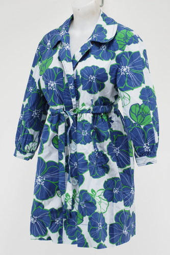 c8c04f378d Garnet Hill Cotton Hibiscus Floral Belted Jacket Women Size 10 Blue  Green White