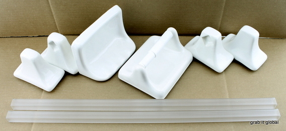 Apple Creek Ceramic Bath Fixture Set 2 Towel Racks Toilet