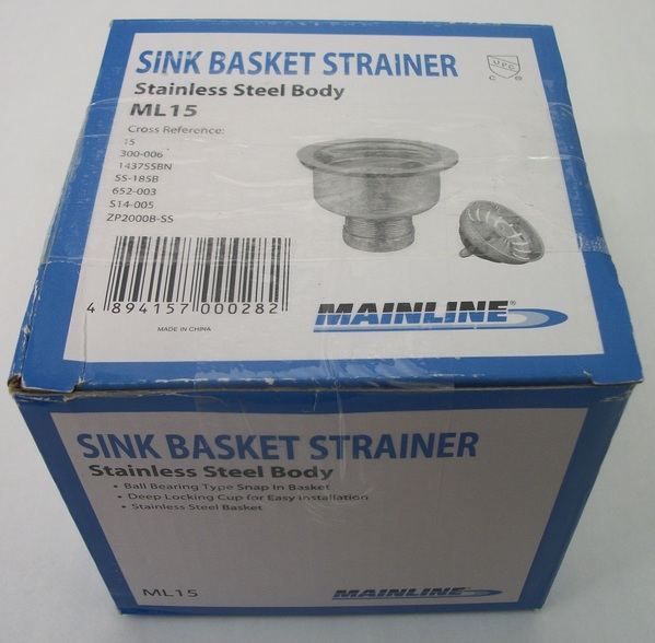 NEW Mainline Sink Basket Strainer ML15 Stainless Steel Body
