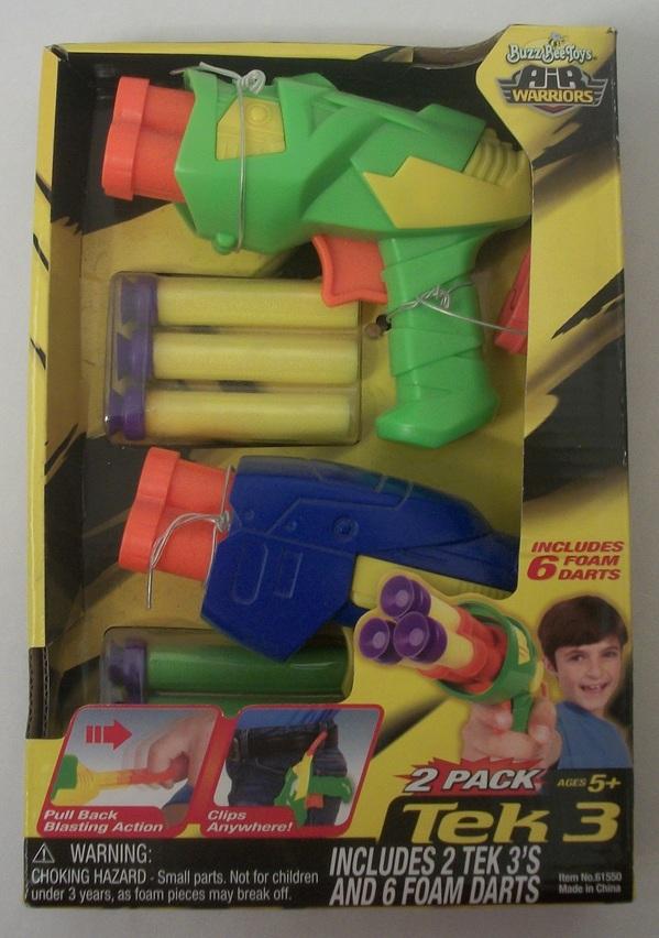 NEW Air Warriors Tek 3 Foam Dart Pistol - 2 Pack with 6 Darts!