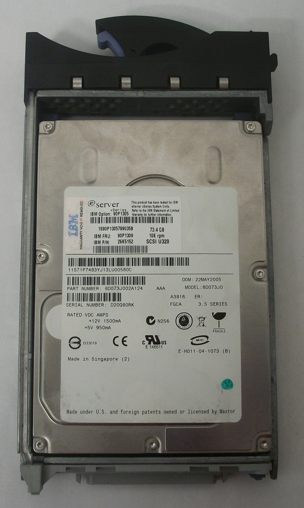 Used Maxtor 73GB Hard Drive for IBM eServer - xSeries - Model 8D073J0 w/ Caddie