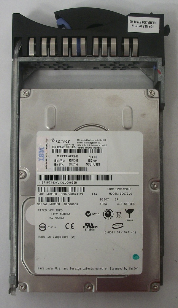 Used Maxtor 73GB Hard Drive - xSeries - Model 8D073J0 w/ Caddie