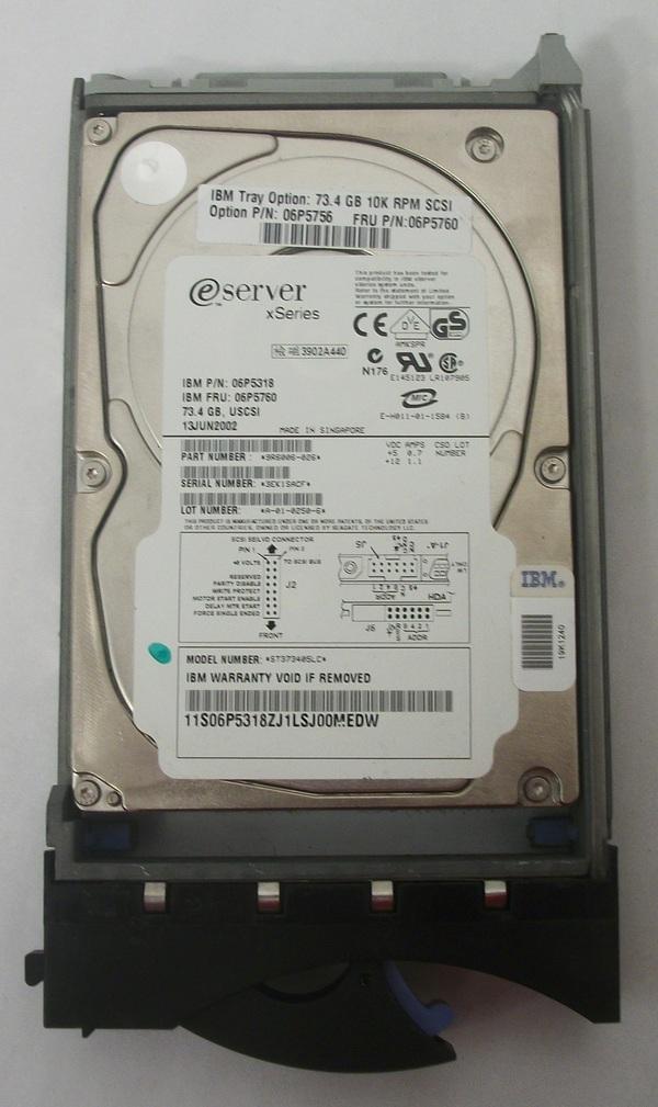 Seagate 73.4GB 10Krpm U160SCSI SCA 80PIN 4MB 3.5LP Model ST373405LC w/ Caddie