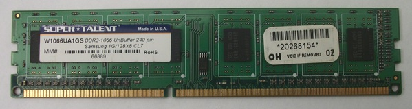 Super Talent W1066UA1GS DDR3-1066 1G/128x8 CL7 RAM Module
