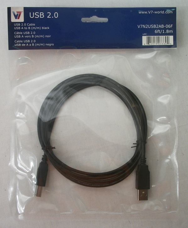 V7 USB 2.0 Cable 6' USB A to B Male to Male