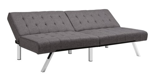 Dhp Emily Tufted Grey Linen Convertible Futon Couch W
