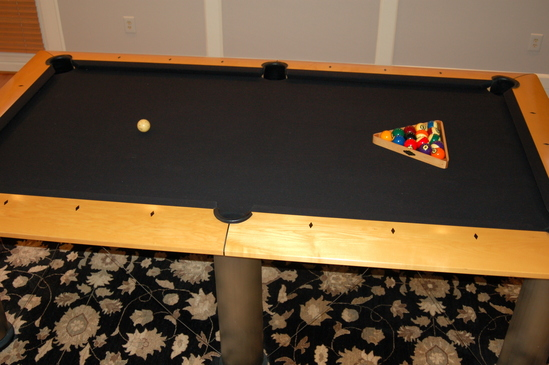 BRUNSWICK MANHATTAN MAPLE STAINLESS POOL TABLE WITH RACK BALLS - Brunswick manhattan pool table