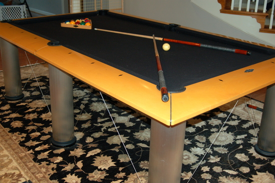 BRUNSWICK MANHATTAN MAPLE STAINLESS POOL TABLE WITH RACK BALLS - Manhattan pool table