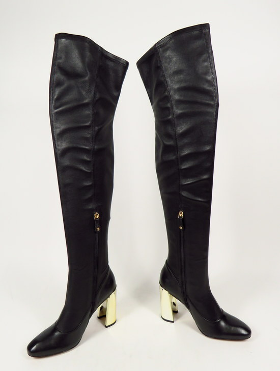 473ef1a0de0 Details about NEW BCBG MAX AZRIA BLACK BEA NAPPA STRETCH LEATHER BOOT GOLD  HEELS SIZE US 7.5 M