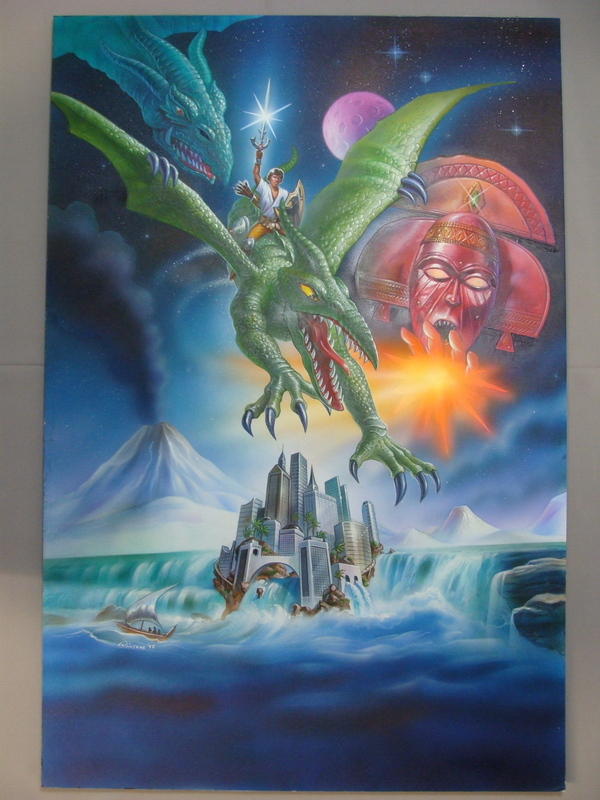 1997 Vulcan Dragon Original Movie Poster Air Brush Painting Signed