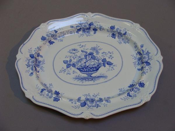 Antique Ridgway Portland Basket Giant Flow Blue Platter Serving Tray 22
