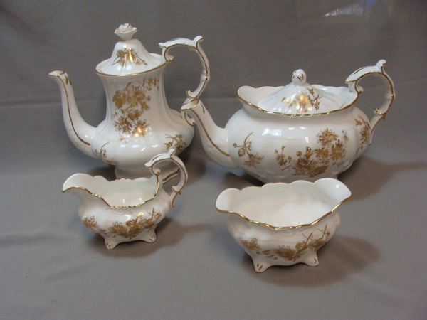 Hammersley Gold Cornflower 4 Piece Tea Service Teapot Coffeepot Creamer Sugar