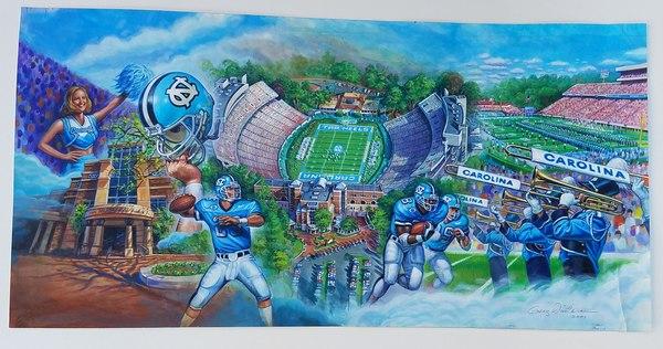 North Carolina Tar Heels College Football Original Promo Signed Painting 2001.