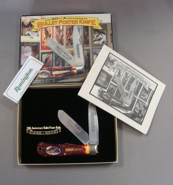 MINT 2002 REMINGTON 20th Anniversary Bullet Poster Folding Pocket Knife & Box