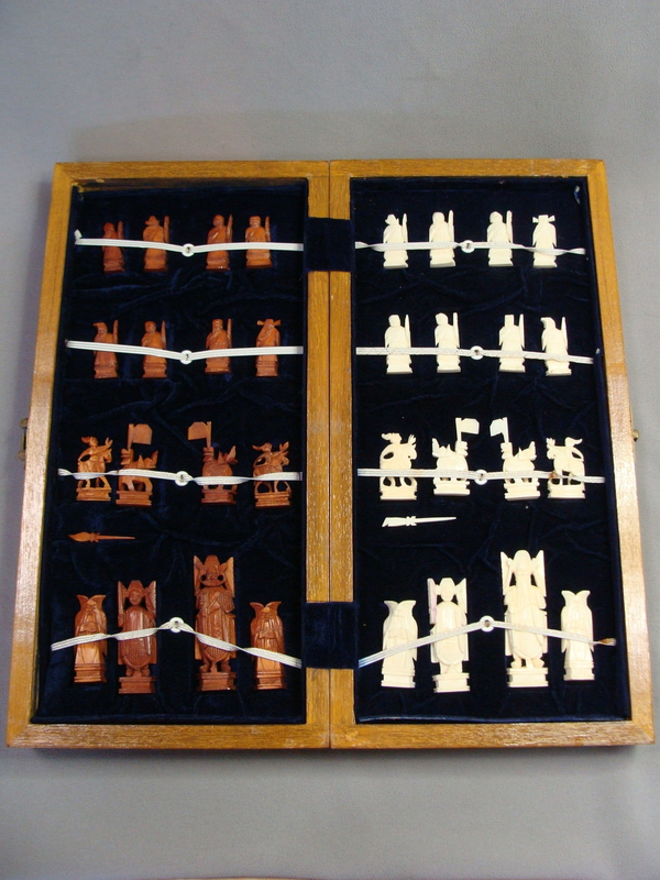 Antique Chinese Export Lacquer & Wood Carved Warriors Chess Set
