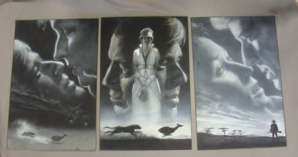 Out of Africa Meryl Streep Robert Redford Original Movie Promo Painting Triptych