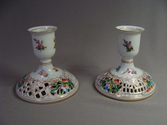Carl Thieme Dresden Hand Painted Porcelain Candlesticks Germany