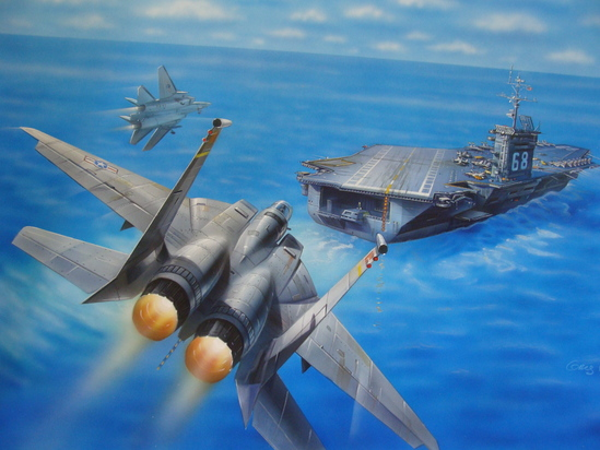 Original Ship Painting of USS Nimitz CVN-68 Aircraft Carrier & Jet Planes