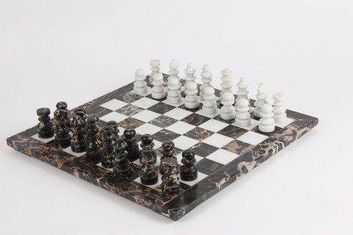 Marble Chess Set Black Amp White Solid Marble 16 Quot Board Ebay