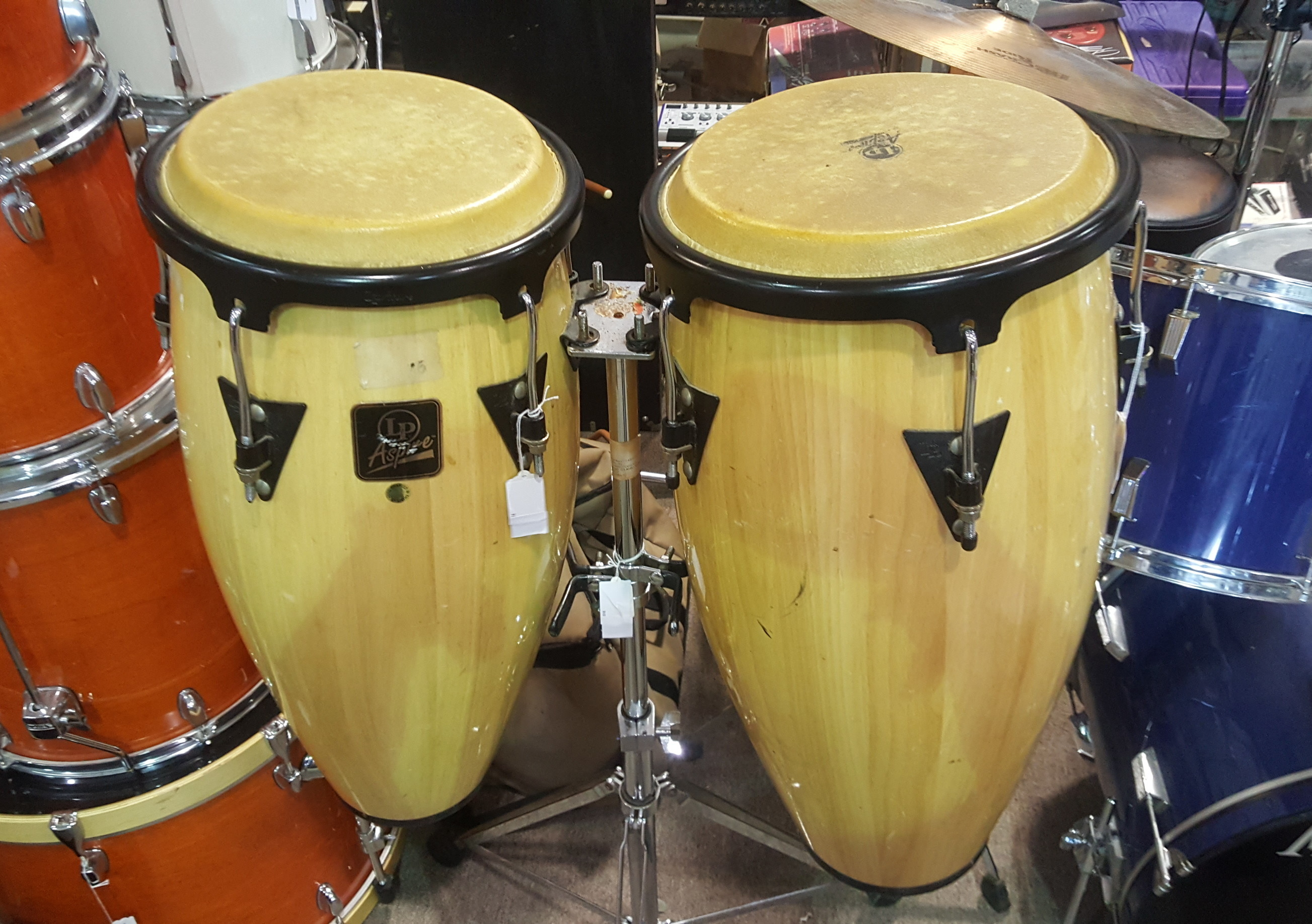 LATIN PERCUSSION L.P. ASPIRE CONGA Set/Pair with Double-Stand - PICKUP ONLY!