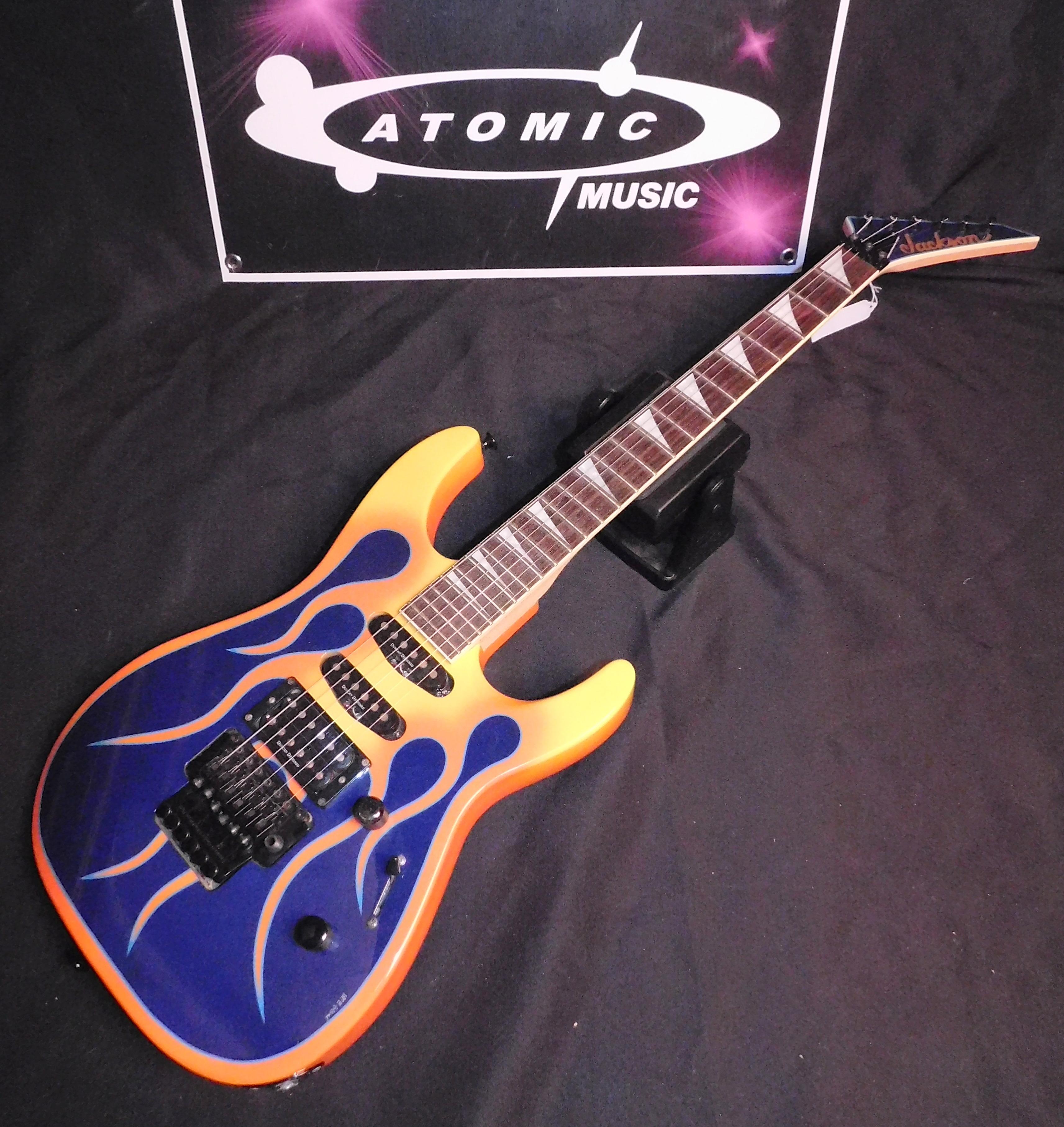 JACKSON DK2 PRO DINKY - BLUE w/ORANGE FLAMES!