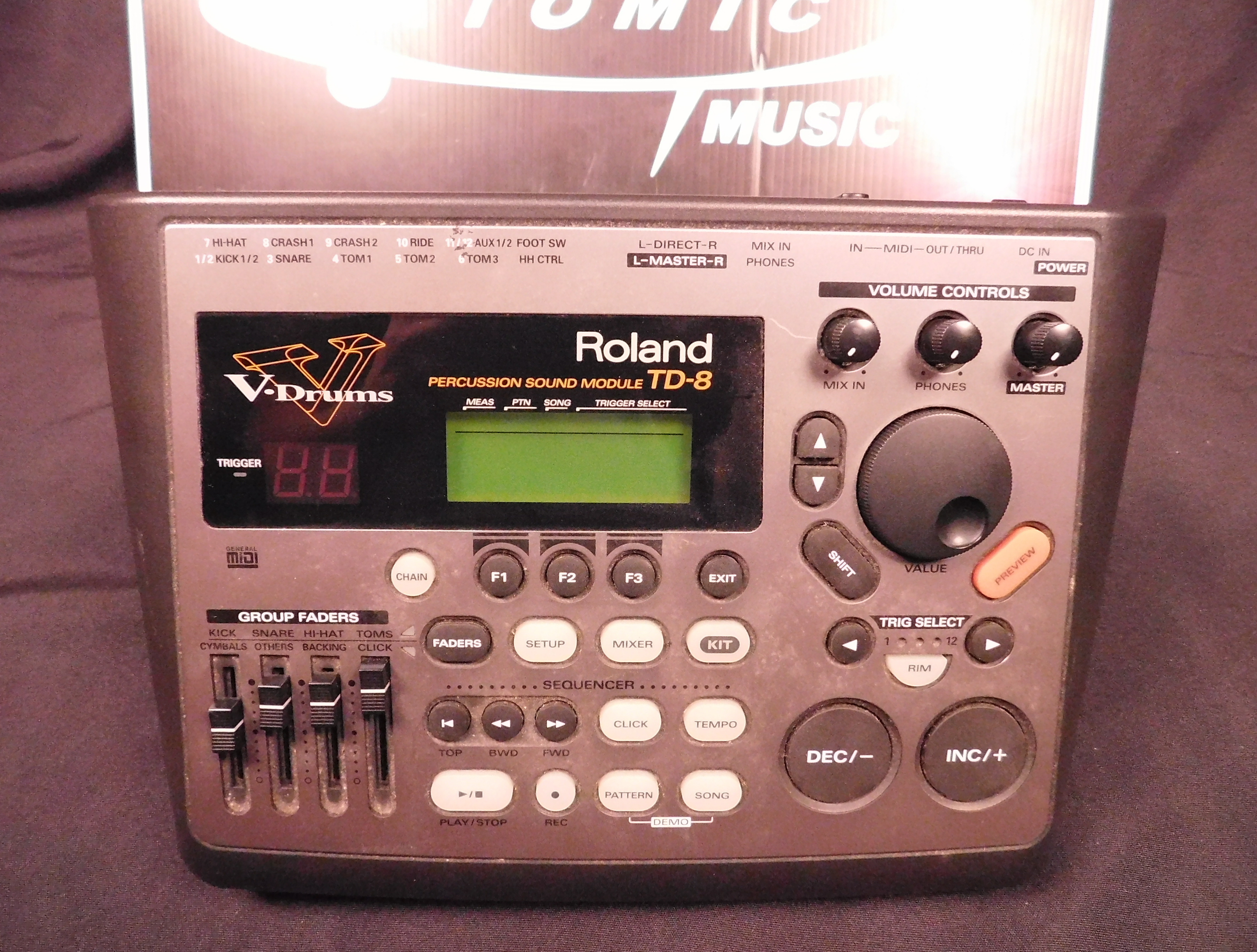 ROLAND TD-8 Percussion Sound Module Drum Brain with Power Supply!
