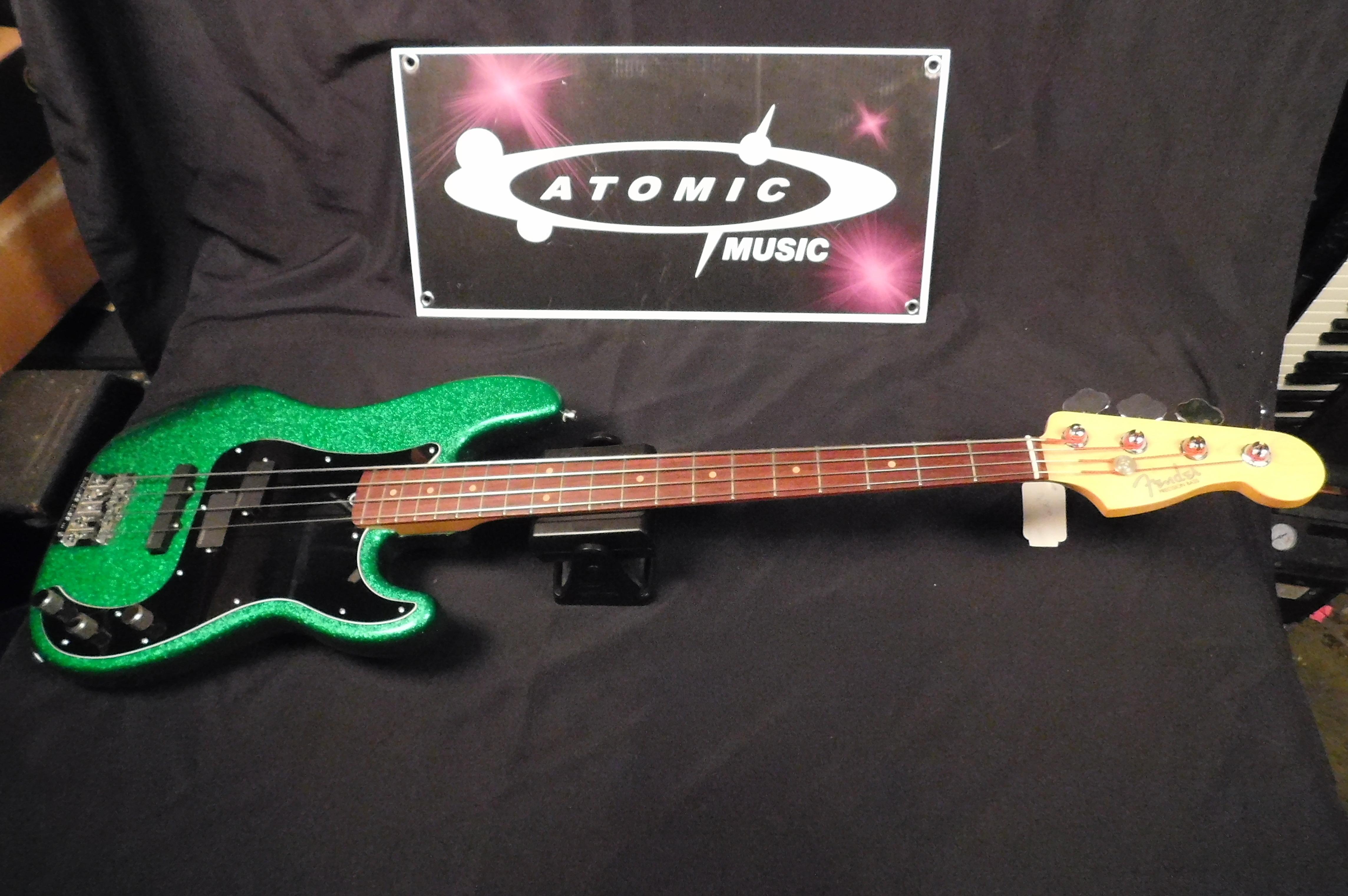 FENDER Hot Rod Precision Bass **GREEN SPARKLE** BADASS Bridge + EMG Pickups!