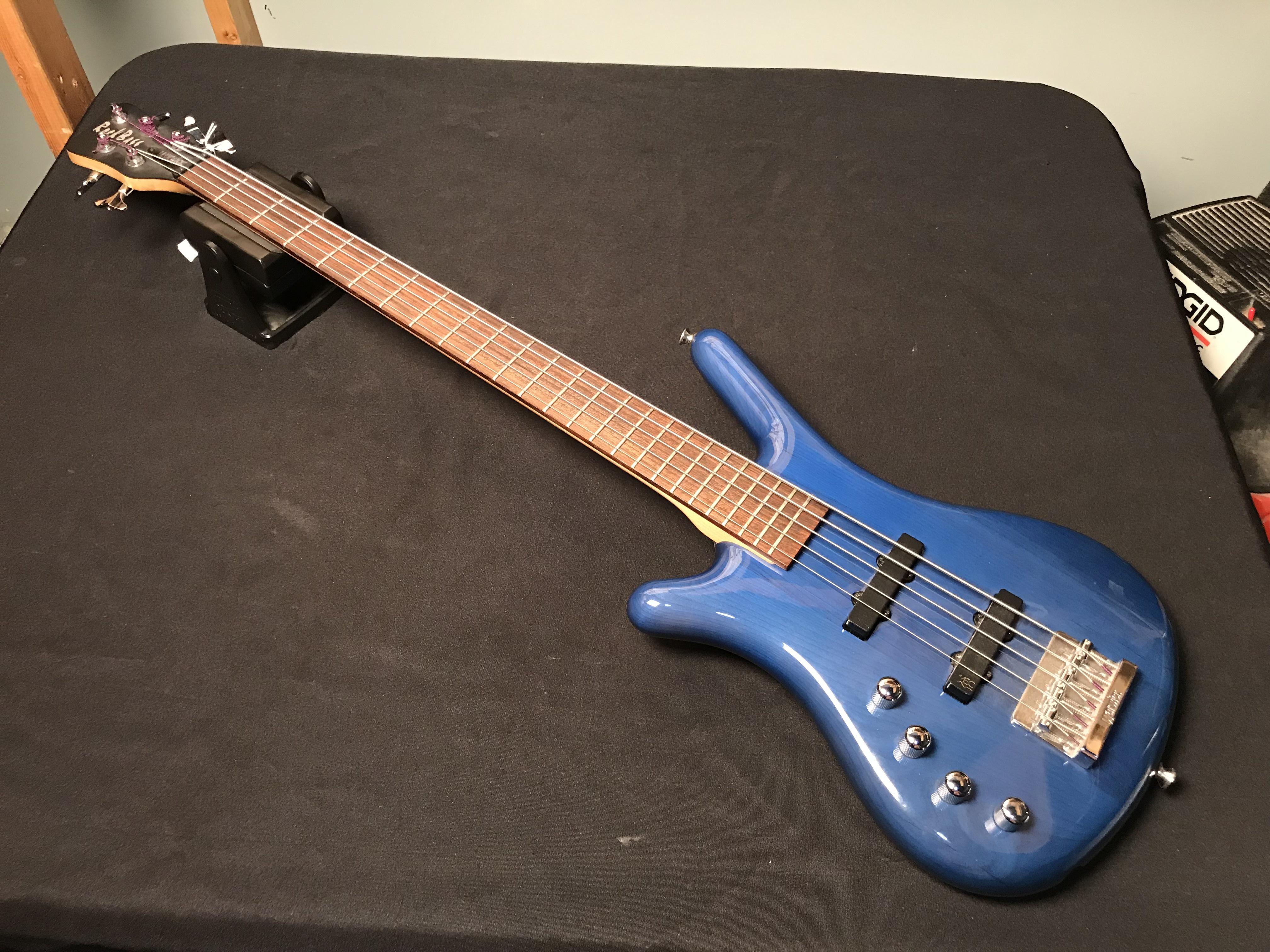 WARWICK ROCKBASS 5 Left-Handed Ocean Blue Electric Bass GIGBAG