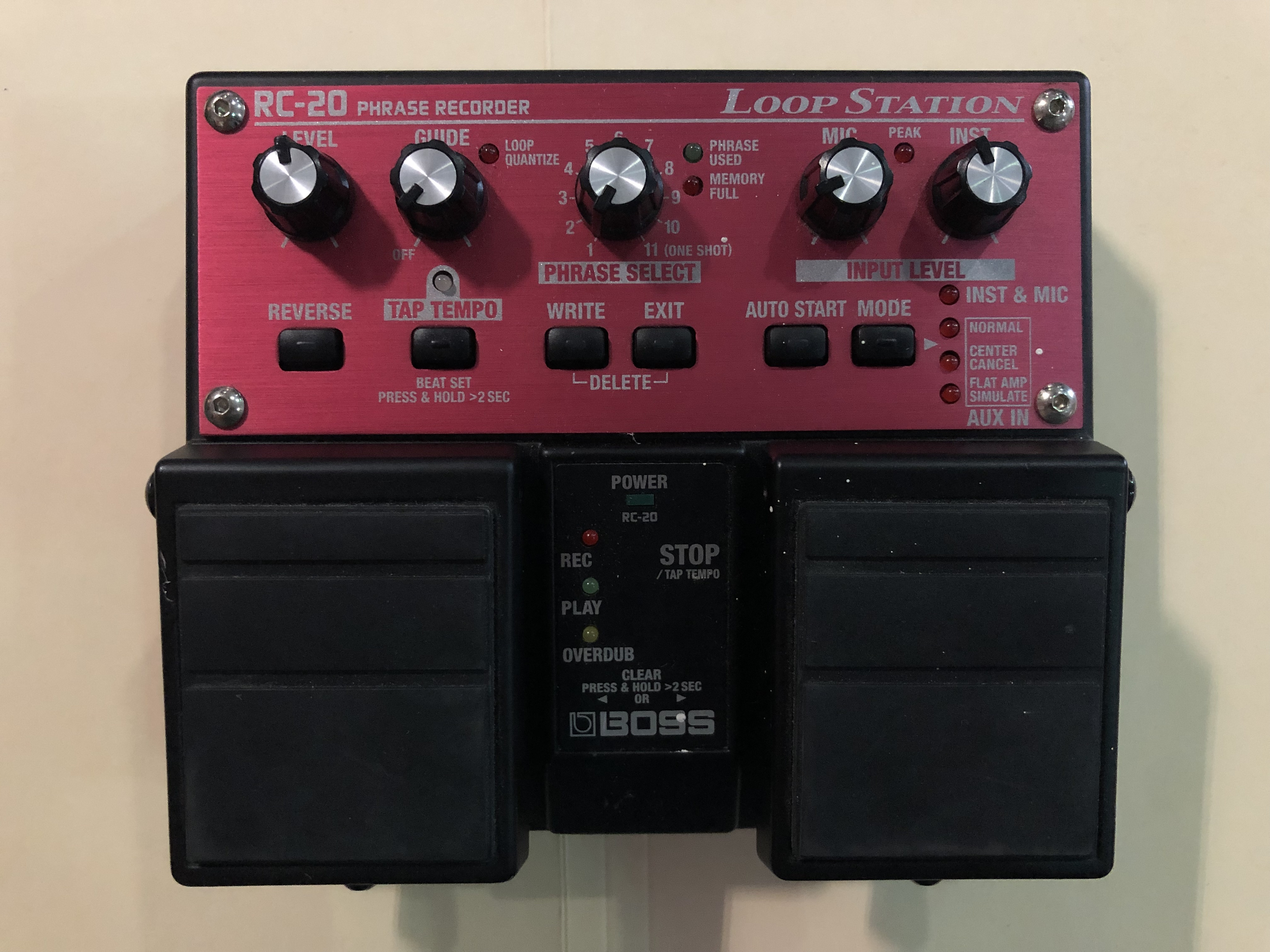 BOSS - RC-20XL - LOOP STATION EFFECTS PEDAL