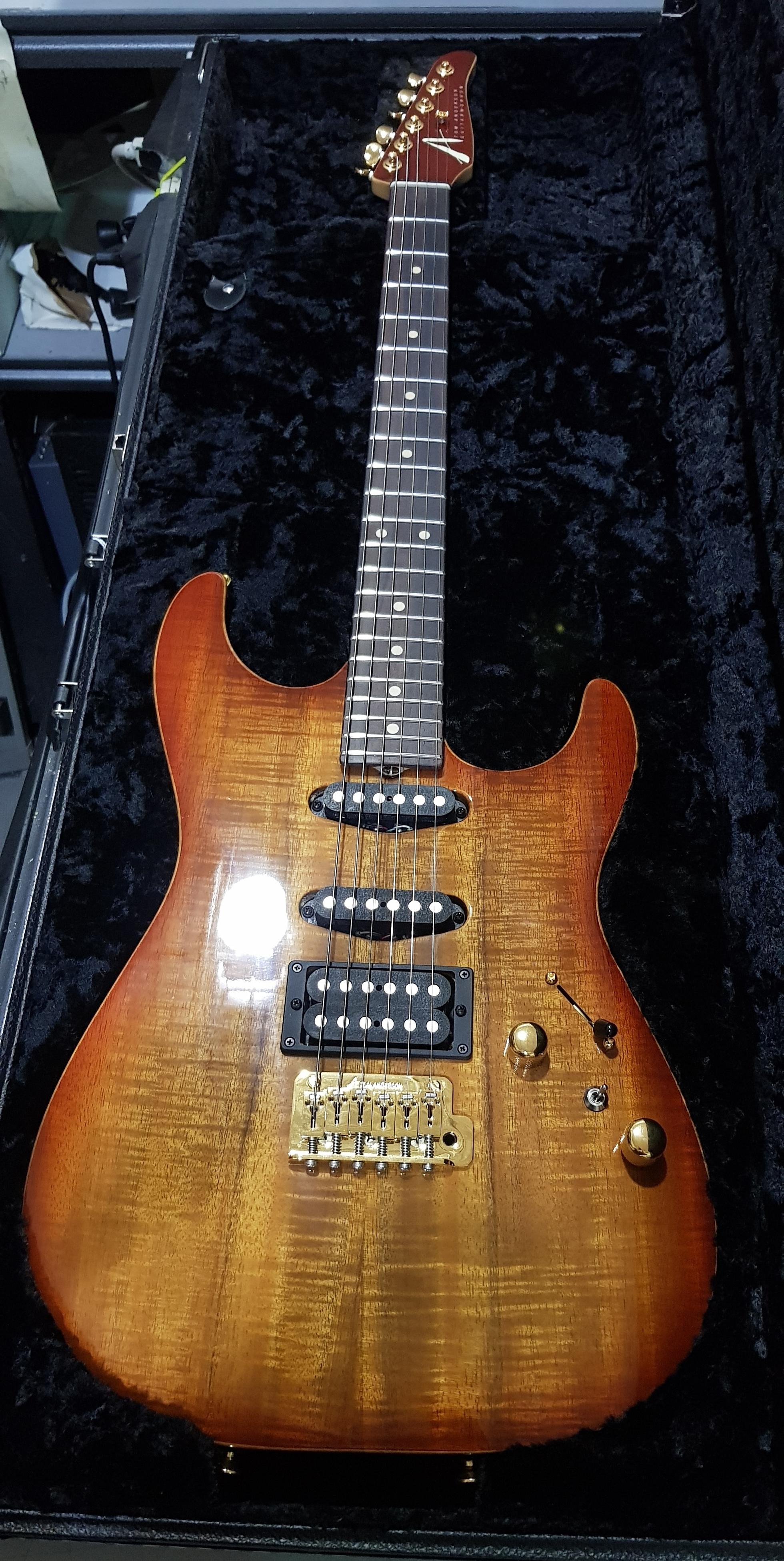 2004 TOM ANDERSON Hollow Drop Top Koa Electric Guitar **HSC**