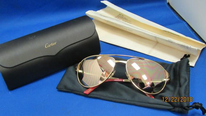 126280d2ff Cartier Gold Santos Dumont B11a27i Sunglasses With Original Purchase  Receipt!