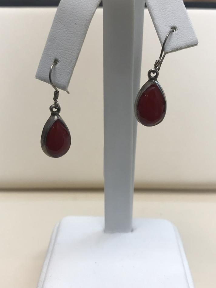 STERLING SILVER .925 SILVER RED CABACHONE STONE EARRINGS
