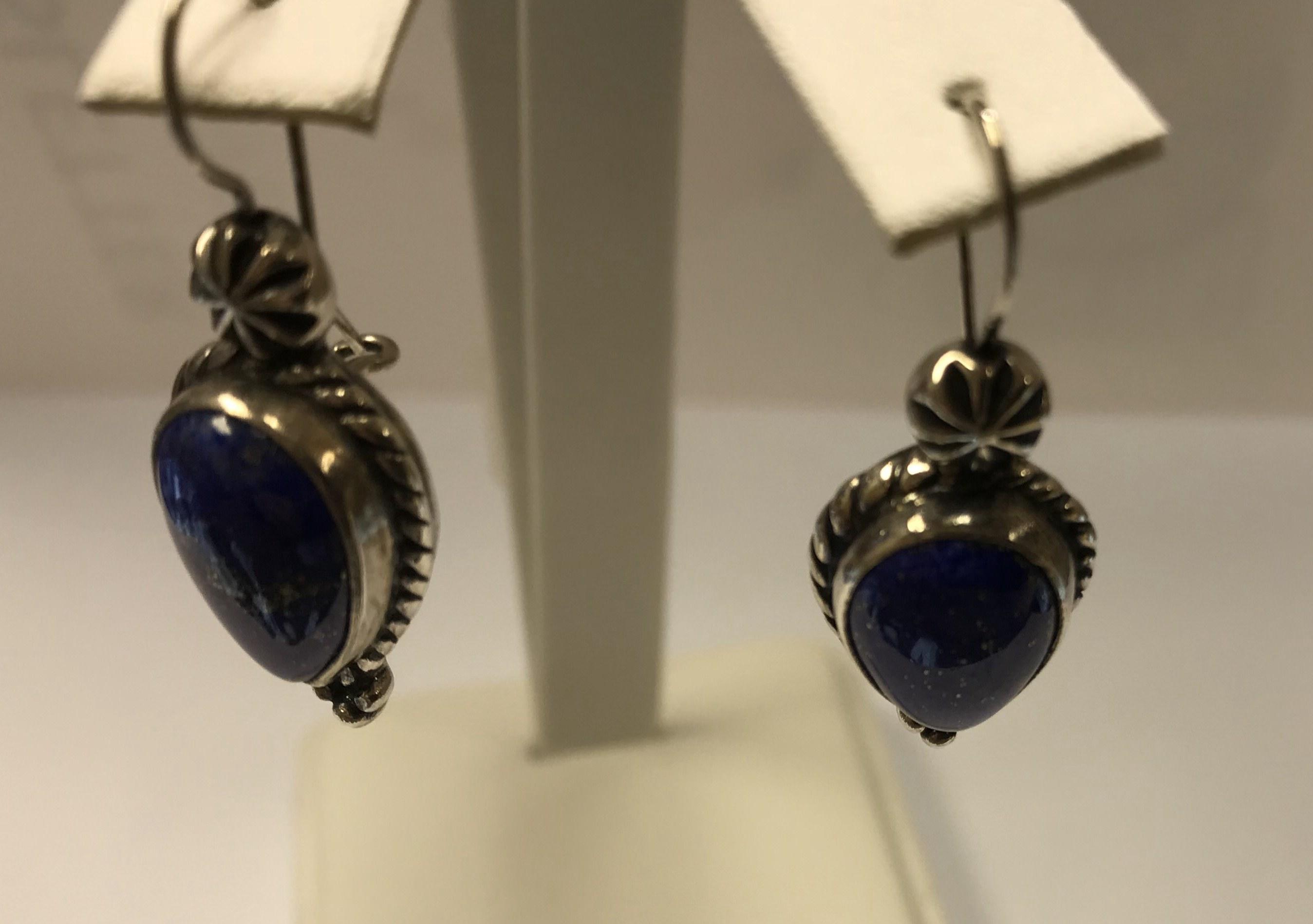 BLUE LAPIS LAZULI STERLING SILVER 925 GEMSTONE EARRINGS