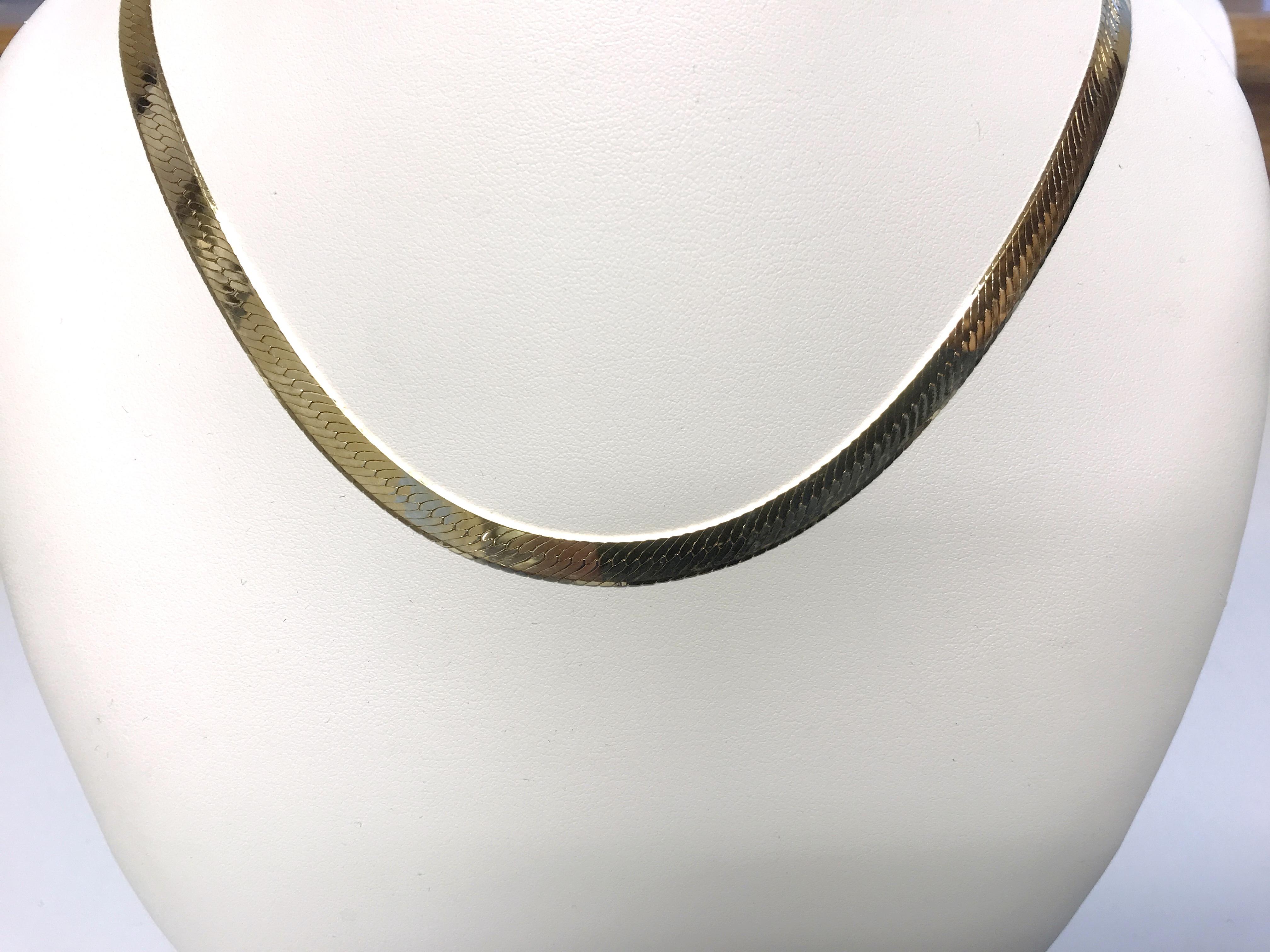 14K Yellow Gold Herringbone 17