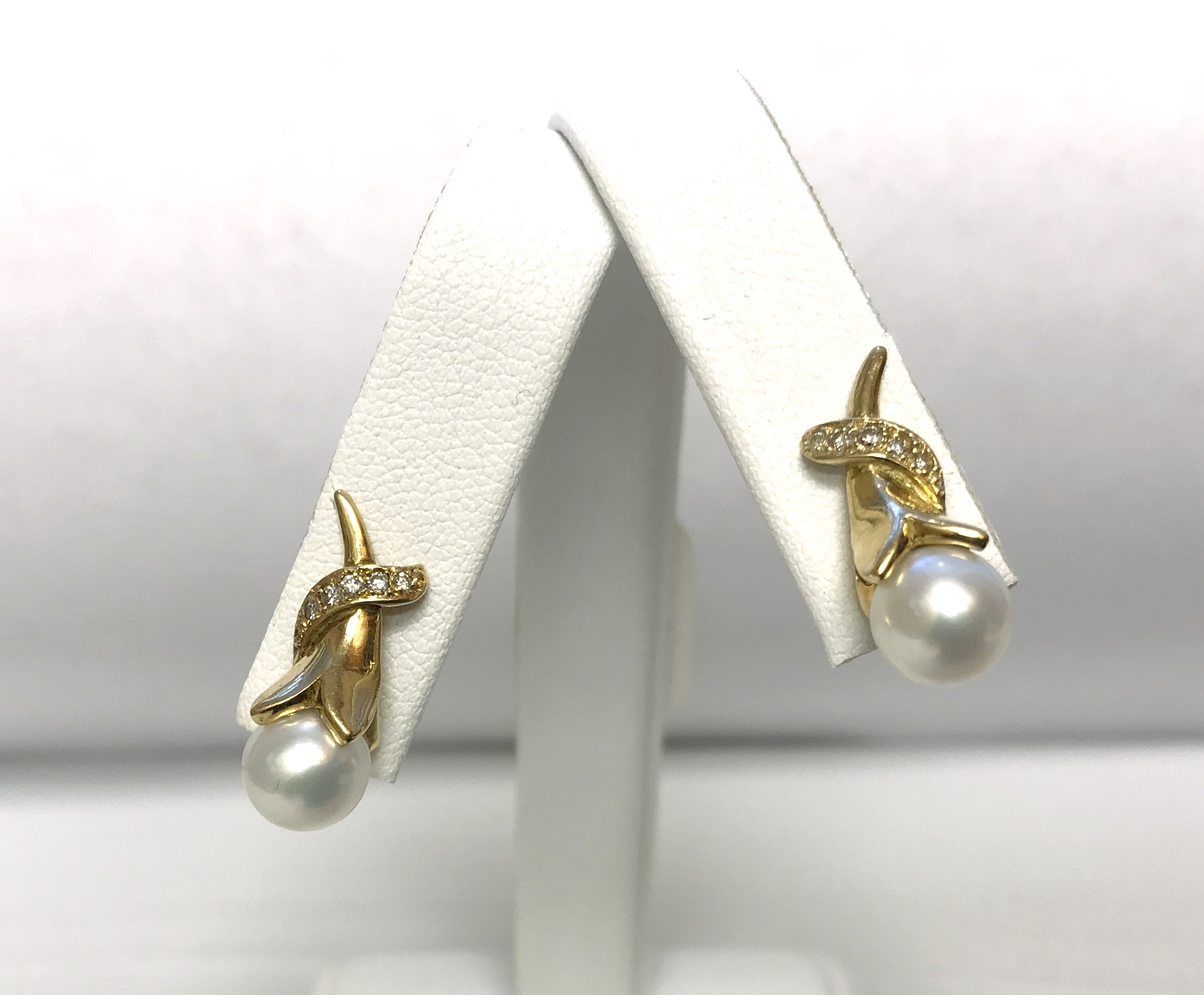 18K Yellow Gold 5.9g  with Diamonds and White Stone Earrings
