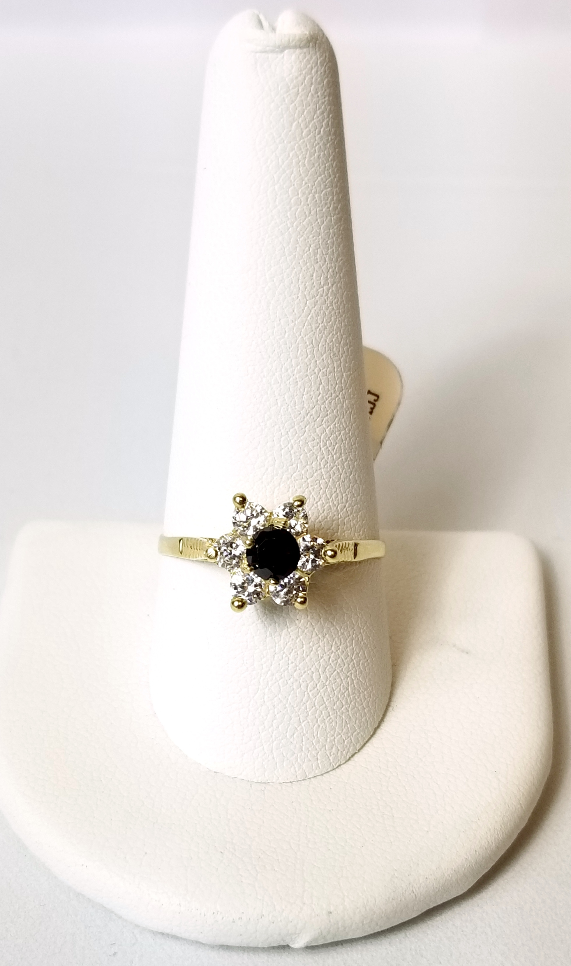 14K Yellow Gold 2.0g Fashion Flower Ring with Clear Stones