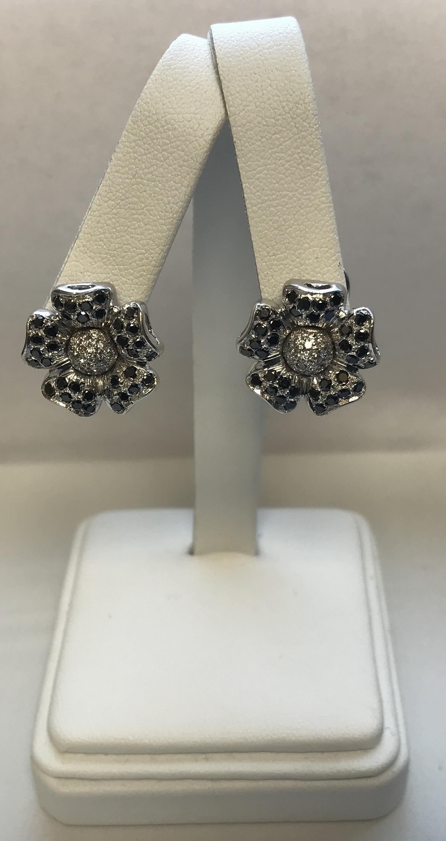 14k White Gold 8.2g Flower Design Black & White Gold Earrings